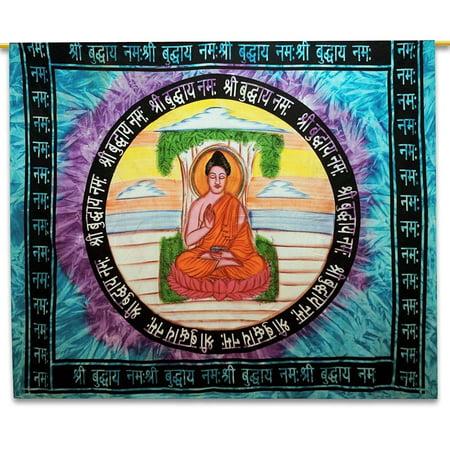 Buddha Hanging (OMA Buddha Tapestry Wall Hanging With Mandala Mantra For Yoga & Meditation HUGE SIZE 85 x 60 - MEDITATION BRACELET)