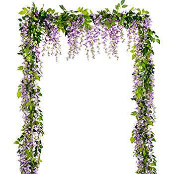 Image of Wisteria Artificial Flowers Garland, 4 Pcs Total 28.8ft Artificial Wisteria Vine Silk Hanging Flower for Home Garden Outdoor Ceremony Wedding Arch Floral Decor (Light Purple)