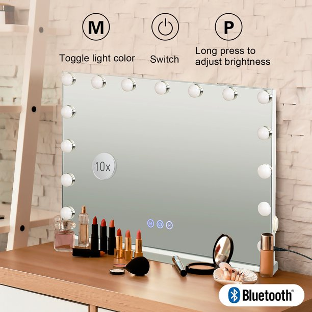 Elecwish Makeup Vanity Mirror With, Makeup Mirror With Light And Bluetooth Speaker