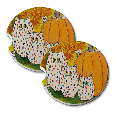 KuzmarK Sandstone Car Drink Coaster (set of 2) - Fiesta Polka Dot Kitties and Mice with Pumpkin Mouse and Cat Art by Denise (Fiesta Coasters)