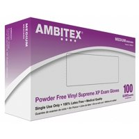 Ambitex Supreme XP Vinyl Exam Gloves VMD221 Medium Box of 100, Cream