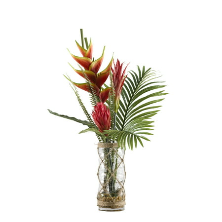 D&W Silks Heliconia, Ginger and Protea with Hawaiian Palm Fronds in Glass Vase Wrapped in