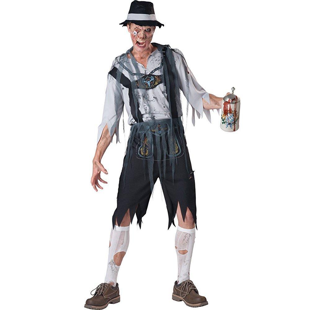 incharacter costumes men's oktoberfeast zombie costume, grey/black, x-large