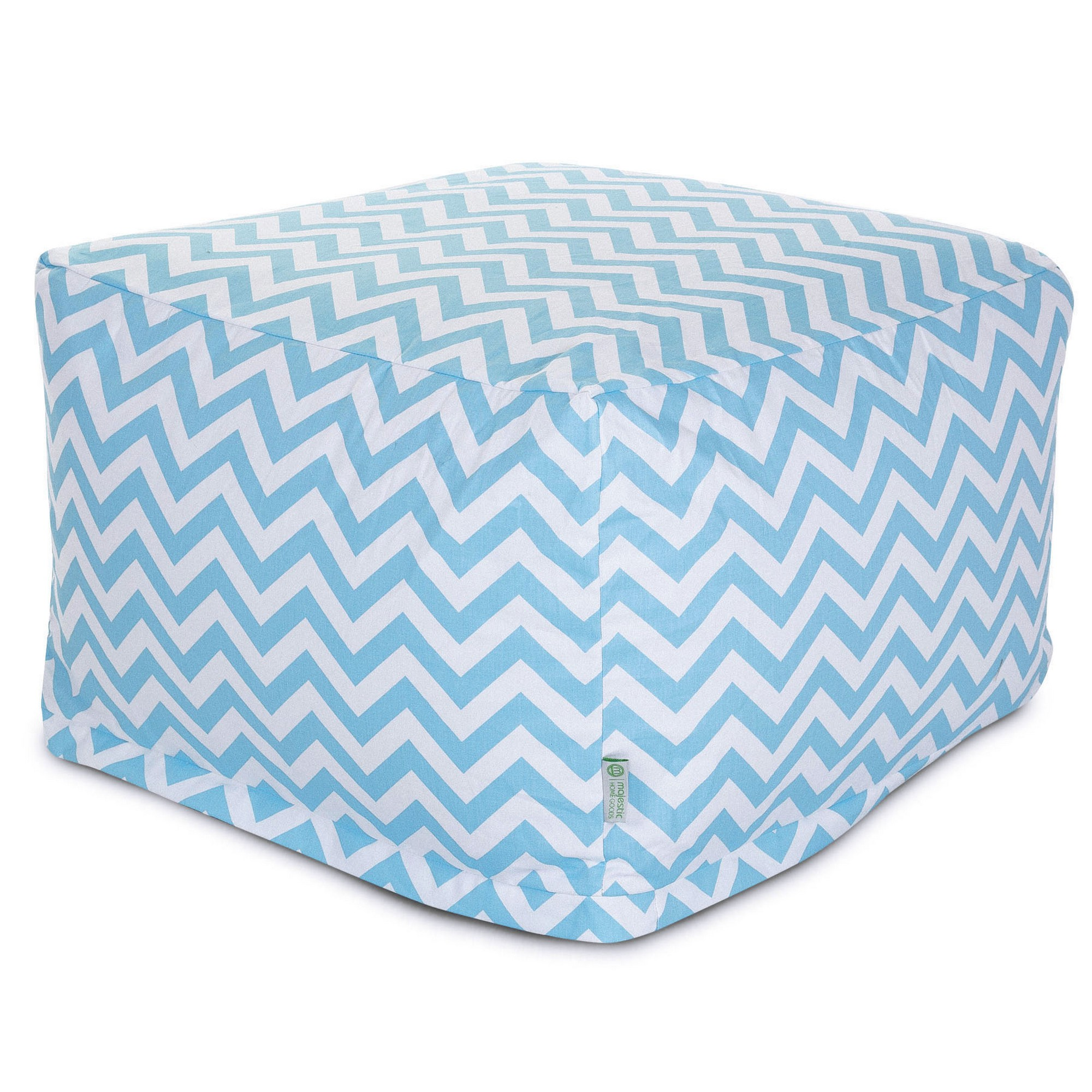 Majestic Home Goods Indoor Cotton Tiffany Blue Chevron Ottoman Pouf