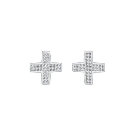 Princess Invisible Set Cross (Invisible Set Princess Cut Diamond Cross Stud Earrings in 10K White Gold (1 cttw, H-I, I2-I3) )