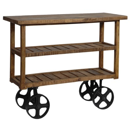 Bengal Manor Mango Wood Industrial Kitchen Cart