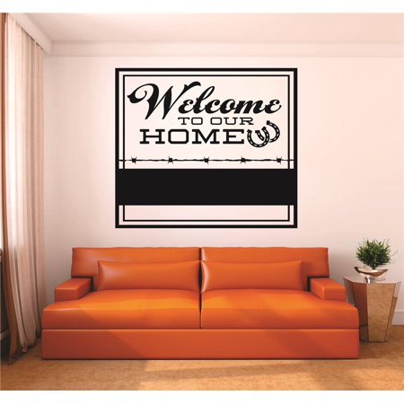 Wall Decal : Welcome To Our Home Horseshoe Cowboy Cowgirl Sign Living Room Kitchen Picture Art Home Decoration 12x12 Inches - Horseshoe Decoration Ideas