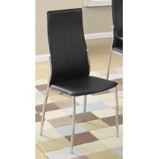 Poundex 2 Piece Faux Leather Dining Chair-Black