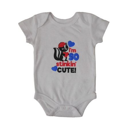Infant Boys White I'm So Stinkin Cute Valentines Day Bodysuit Skunk Creeper