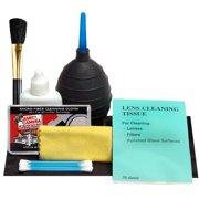Precision Design 7 Piece Optical Lens and Digital SLR Camera Cleaning Kit with Brush, Microfiber Cloth, Fluid & Tissue + Hurricane Blower for Nikon DSLR for Nikon D3300, D5300, D5500, D7200