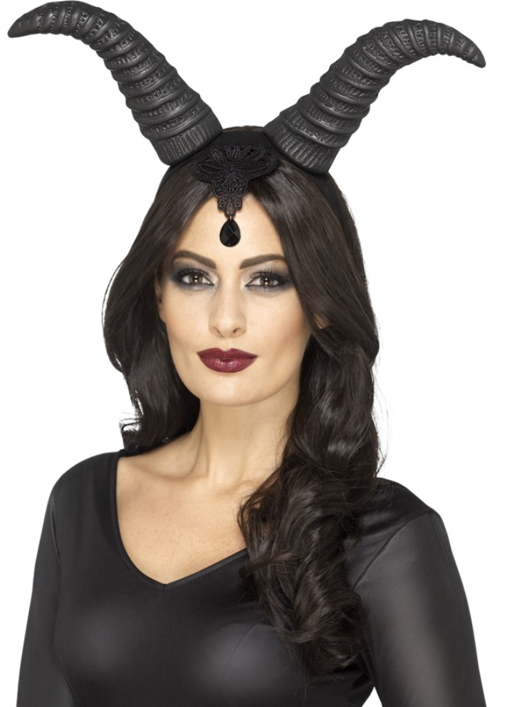Demonic Queen Horns on a Headband Evil Black Adult Halloween Costume  Accessory
