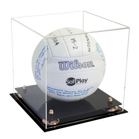 Acrylic Ice Display - Deluxe Acrylic Full Size Volleyball Display Case with Metal Risers