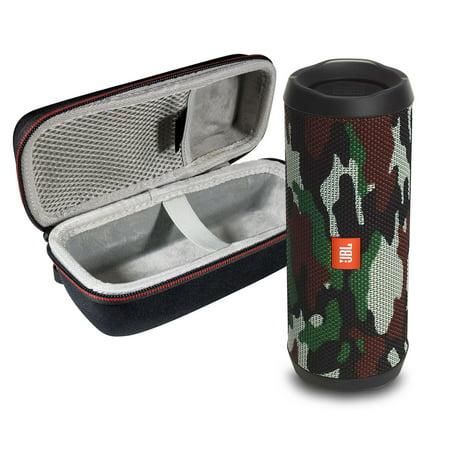 Foldable Portable Travel Speakers - JBL FLIP 4 Camo Kit Bluetooth Speaker & Portable Hardshell Travel Case