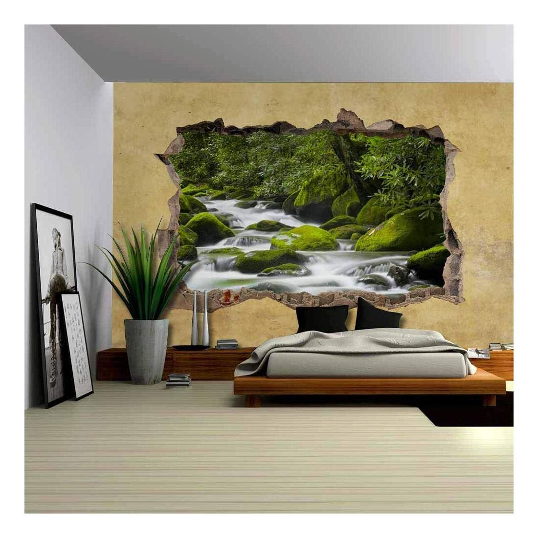 wall26 Cascading Spring in Tropical Forest Viewed through a Broken Wall - Large Wall Mural, Removable Peel and Stick Wallpaper, Home Decor - 66x96 inches
