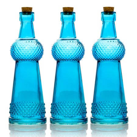 BULK PACK (3) Savannah Turquoise Vintage Glass Bottle Wedding Flower