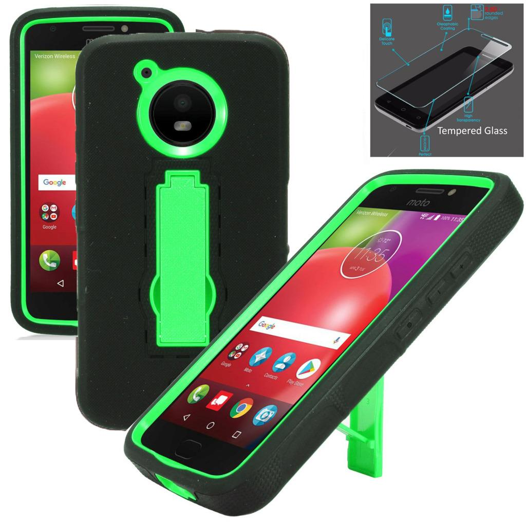 For Motorola Moto E4 Case / Moto E 4 XT1767 Case + Tempered Glass Symbiosis Armor Hybrid Silicone Phone Cover w/ Stand Combo Pack (Green/Black)