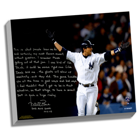 New York Yankees Aaron Boone Facsimile 2003 ALCS Game 7 Walk-Off Story Stretched  16x20 Story Canvas - image 1 de 1