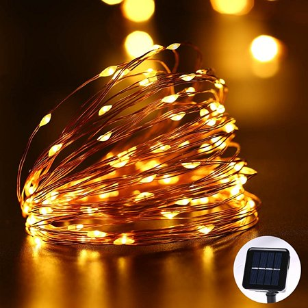 qedertek solar christmas lights led fairy starry solar lights 33ft 100 led copper wire rope