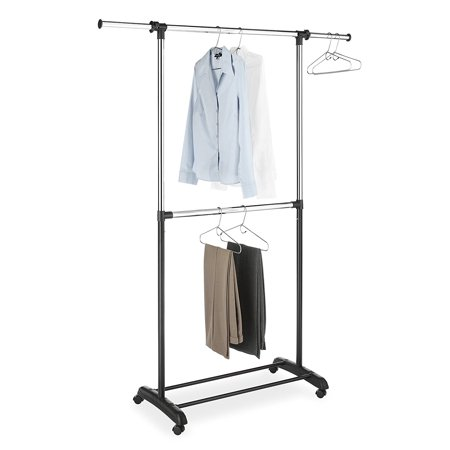 Whitmor Adjustable 2-Rod Garment Rack Black & Chrome