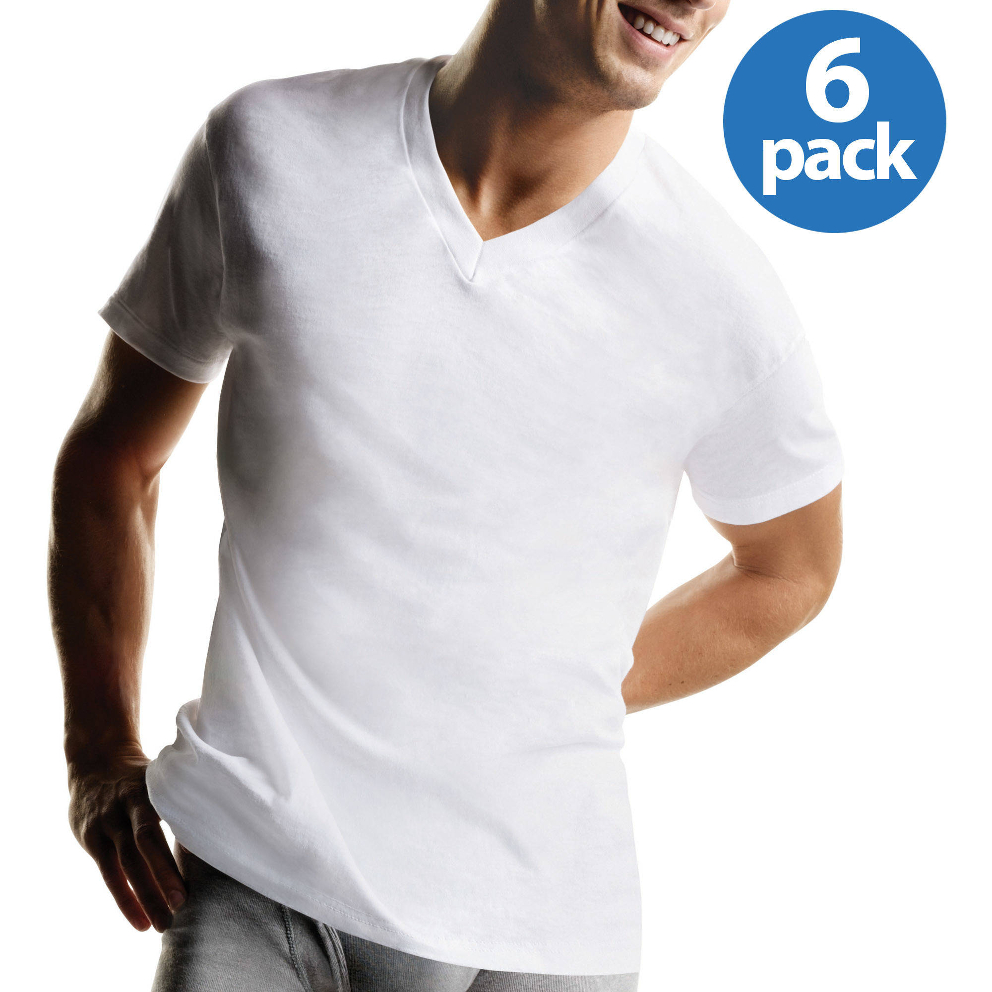 Hanes Men's FreshIQ ComfortSoft White V-Neck T-Shirt 6-Pack