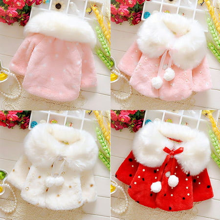 Kacakid Tech Infant Baby Girls Faux Fur Warm Winter Coat Cloak Outerwear Jackets 1-3T
