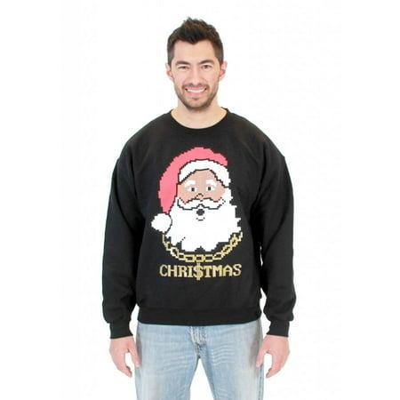 Black Santa with Chain Adult Black Ugly Christmas Sweatshirt