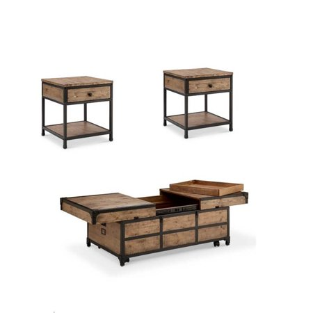 3 Piece Coffee Table and End Table Set in Textured Natural ()