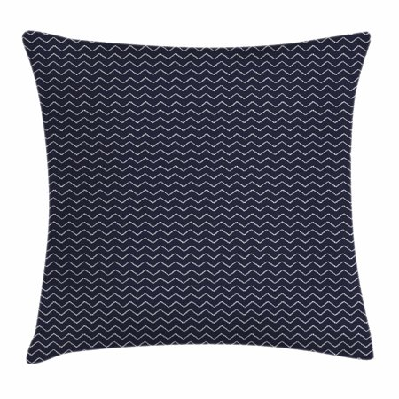 Navy Blue Throw Pillow Cushion Cover, Chevron Zigzag Ropes Ornamental Arrangement Herringbone Pattern Illustration, Decorative Square Accent Pillow Case, 24 X 24 Inches, Navy Blue White, by Ambesonne
