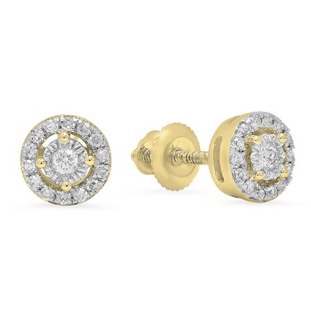 18k Round Brooch - Dazzlingrock Collection 0.20 Carat (ctw) 18K Round White Diamond Ladies Cluster Halo Style Stud Earrings 1/5 CT, Yellow Gold