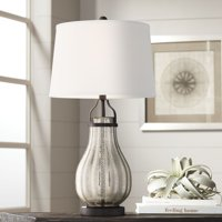 Franklin Iron Works Modern Farmhouse Table Lamp Oil Rubbed Bronze Fluted Mercury Glass White Drum Shade for Living Room Bedroom