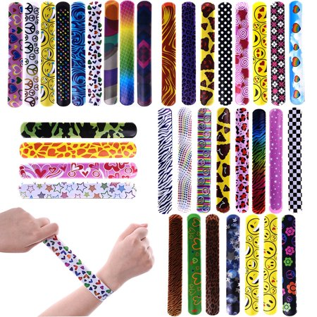 Slap Bracelets Party Wrist Strap Hearts Emoji Animal Print Back to School Bracelets for Birthday Parties and School Classroom Prizes  F-166 (Halloween Classroom Party Craft Ideas)