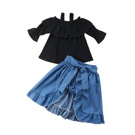 Toddler Baby Girls Off Shoulder Top T-shirt Skirt Dress Pants Outfits Clothes
