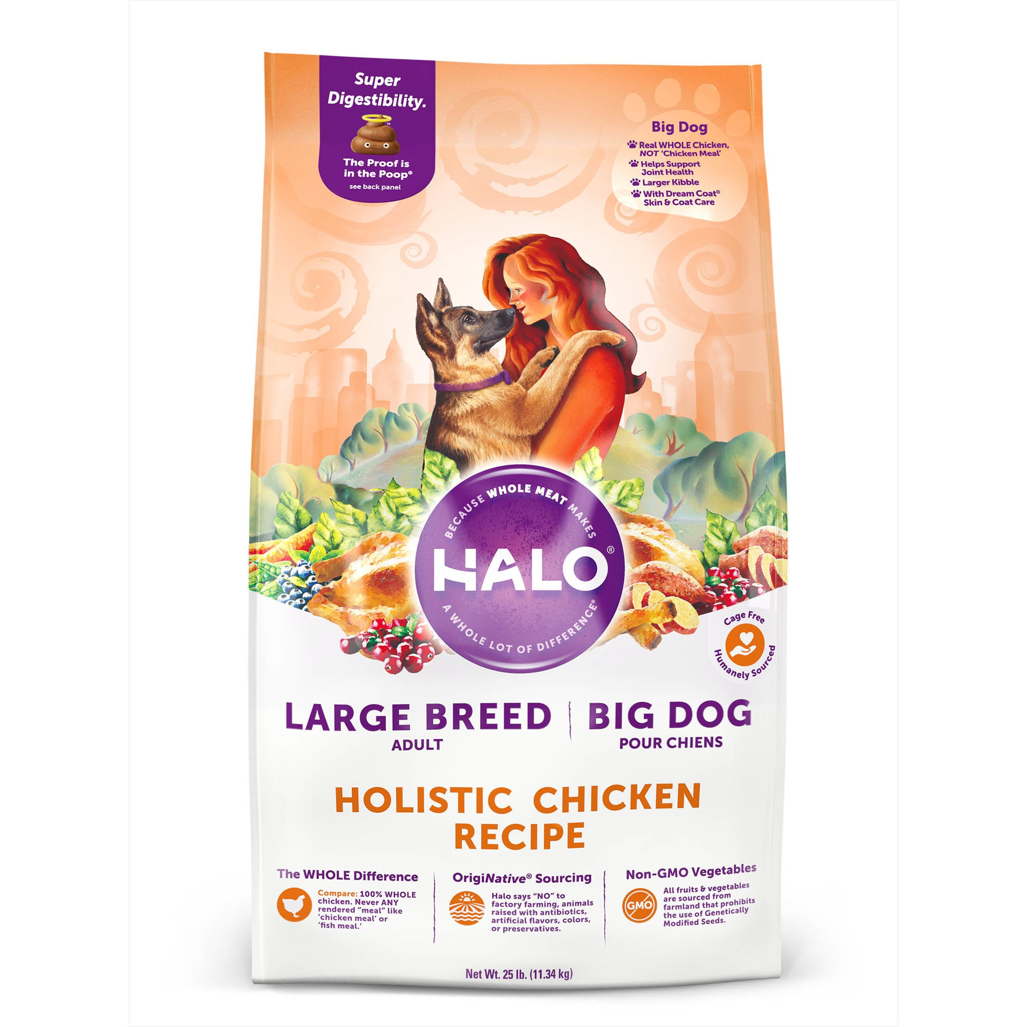 Halo Natural Dry Dog Food, Large Breed-Big Dog Chicken Recipe, 25Lb. Bag