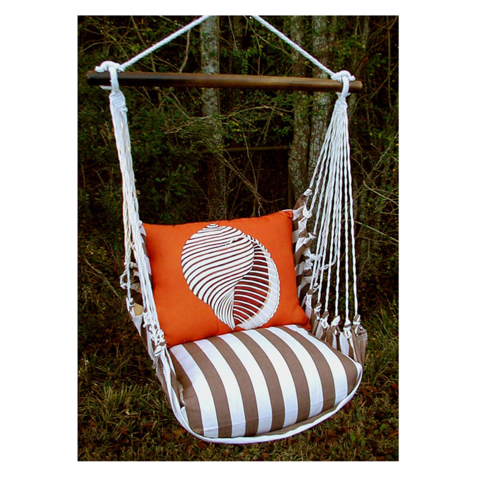 Magnolia Casual Chocolate Shell Hammock Chair and Pillow Set