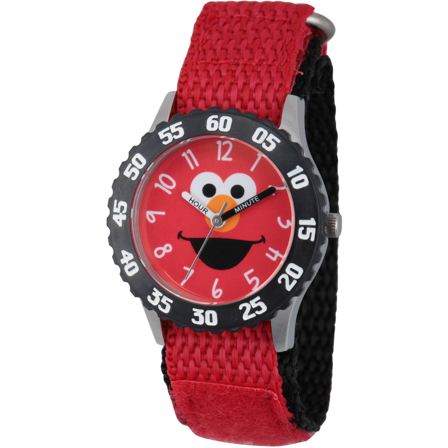 Sesame Street Stainless Steel Time Teacher Watch, Black Bezel, Red Hook and Loop Nylon Strap with Black Backing