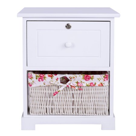 Gymax 2 Tiers Wood Nightstand1 Drawer Bedside End Table Organizer W/ Basket White ()