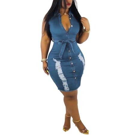 Plus Size Women's Sexy Deep V Neck Sleeveless Jeans Denim T-Shirt Ripped Hole Waistband Bodycon Slim Button Mini Dress ()