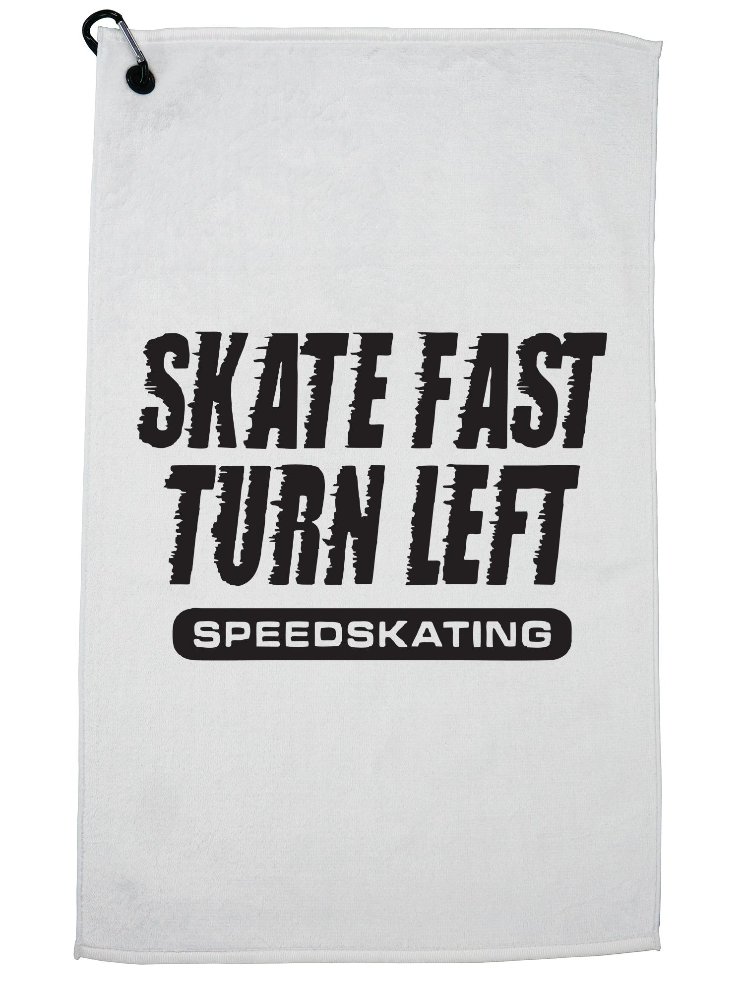Speed Skating Skate Fast Turn Left Speedskating Golf Towel with Carabiner Clip by Hollywood Thread