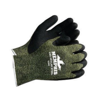 Memphis Gloves Small KS-5 13 Gauge Cut Resistant Green Dupont Kevlar Nylon Steel Black Latex Dipped Palm And Finger Coated Work Gloves With Knit Wrist ()