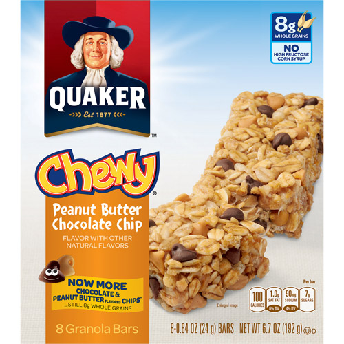 Quaker Foods Chewy Granola Bars Peanut Butter Chocolate Chip 96/CT Blue 31184