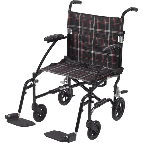 Drive Medical Fly Lite Ultra Lightweight Transport Wheelchair, Black