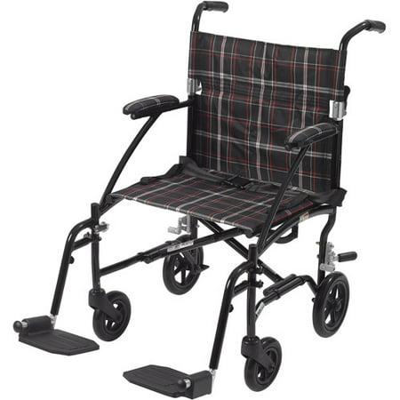 Drive Medical Fly Lite Ultra Lightweight Transport Wheelchair  Black