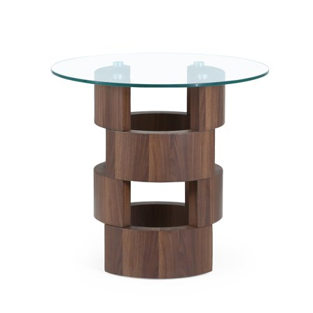 Glass Table Top End Table with Building Block Design Base ()