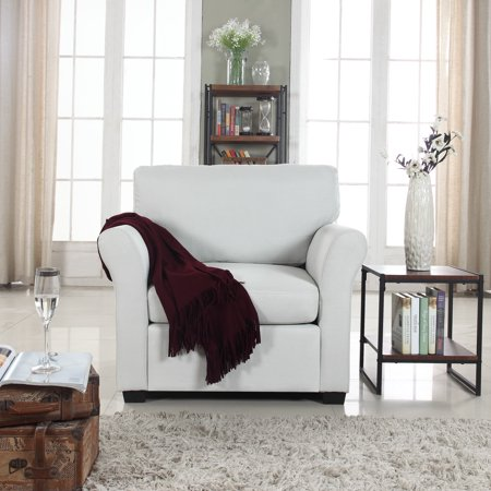 Traditional Linen Living Room Armchair, Ivory