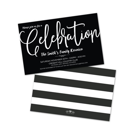 Personalized Black & White Celebration Party