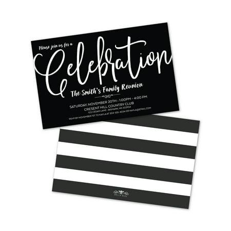 Personalized Black & White Celebration Party Invitations - Personalized Party Invitations