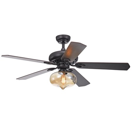 Figuera 52-Inch 5-Blade Antique Black Lighted Ceiling Fans with Clear Amber Glass Shade (Remote Controlled)