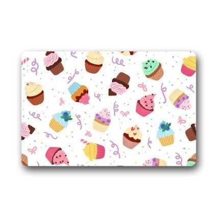 WinHome Delicious Seamless Pattern with Cupcakes Gate Rug Doormat Floor Mats Rugs Outdoors/Indoor Doormat Size 23.6x15.7 inches