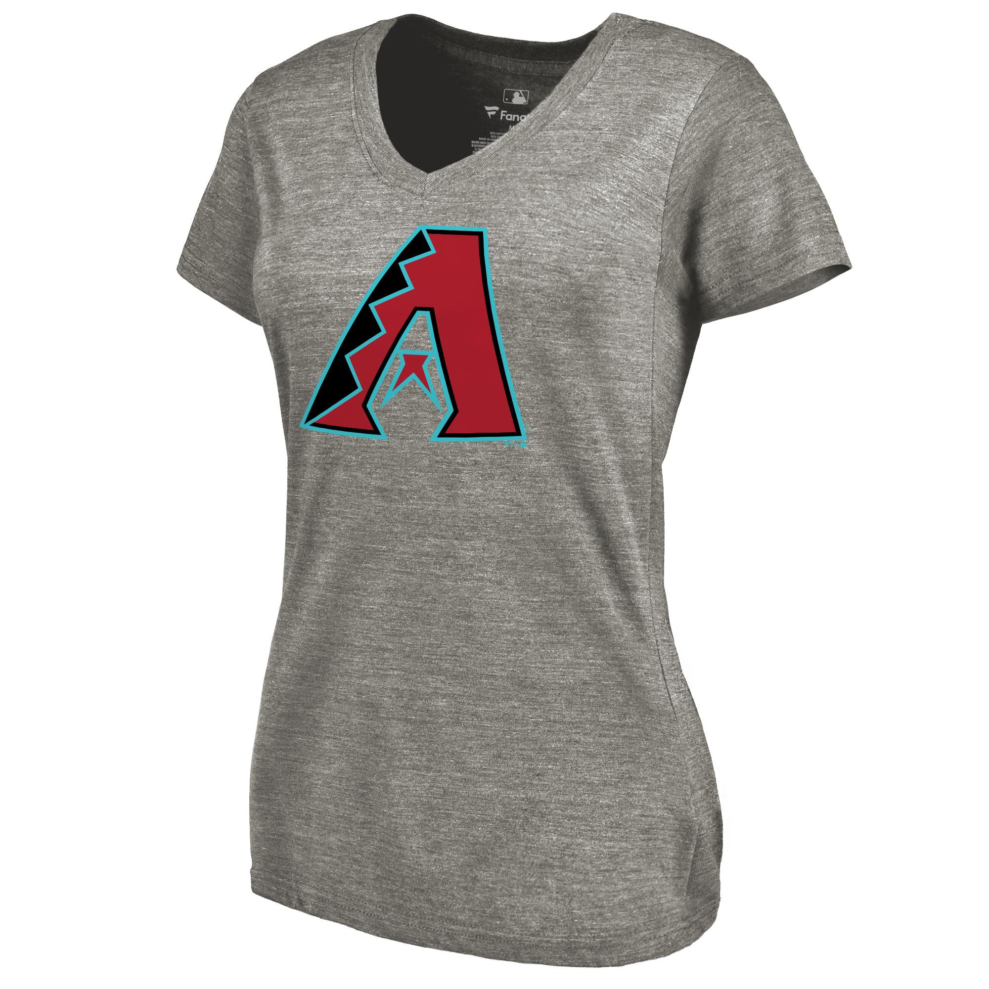 Arizona Diamondbacks Women's Primary Logo Tri-Blend V-Neck T-Shirt - Ash