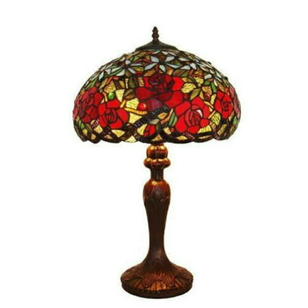 - Amora Lighting Amora Lighting AM1535TL16 Tiffany Style Res Roses Table Lamp 24 In